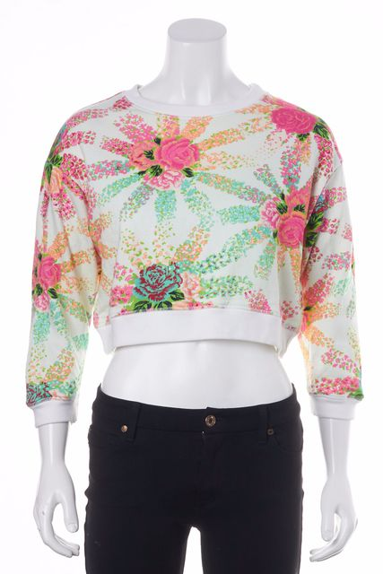 MSGM Pink Floral Crewneck Sweater