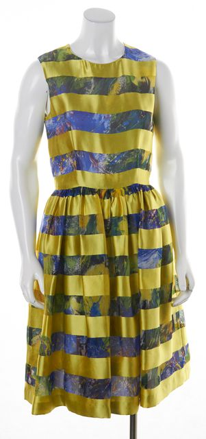 MSGM Yellow Blue Floral Striped Silk Blouson Fit & Flare Dress