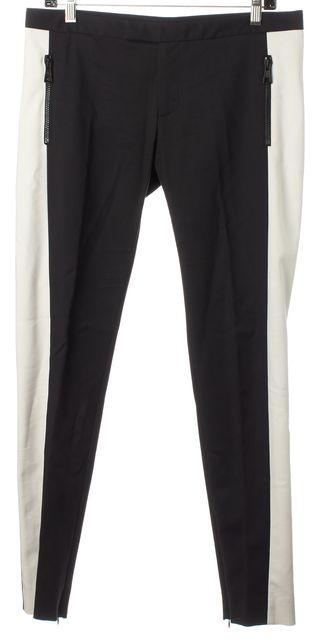 MSGM Black White Panels Stretch Cotton Skinny Leg Trousers Pants