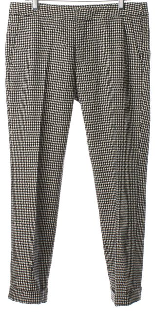 MSGM Black White Houndstooth Cuffed Cropped Slim Trouser Dress Pants