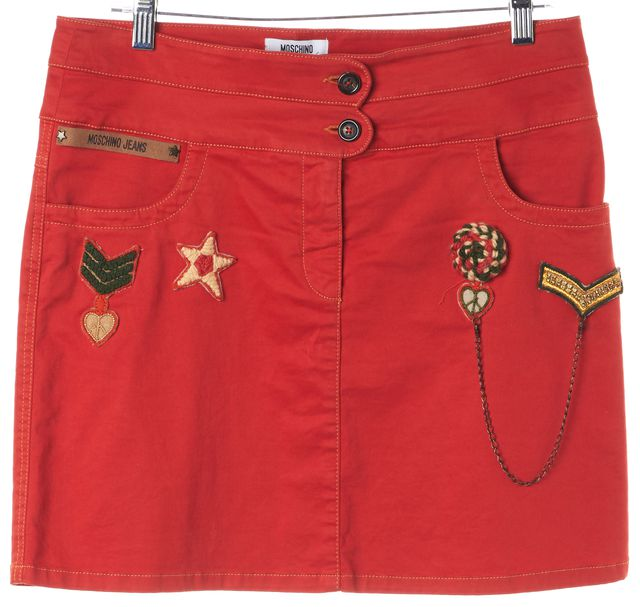 MOSCHINO JEANS Blood Orange Graphic Print Patch Embellished Skirt US 10 IT 44