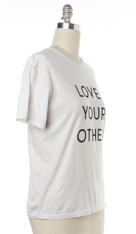 MOTHER White Love Your Other Printed Cotton Basic Tee Top Size XS