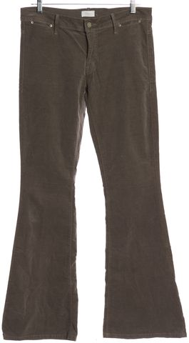 MOTHER Taupe Brown Velvet Curfew Flare Corduroy Pants