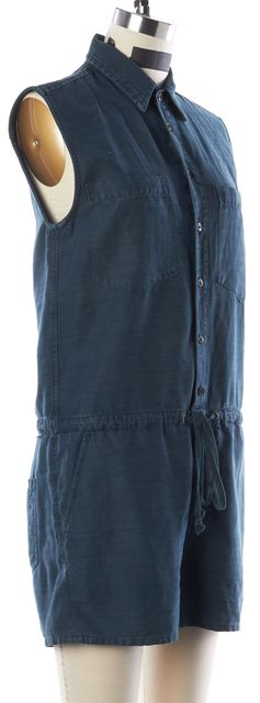 MOTHER Dark Teal Blue Chambray Sleeveless Button Front Summer Romper