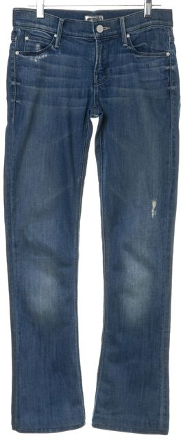 MOTHER Blue Distressed The Runaway Graffiti Girl Slim Fit Jeans