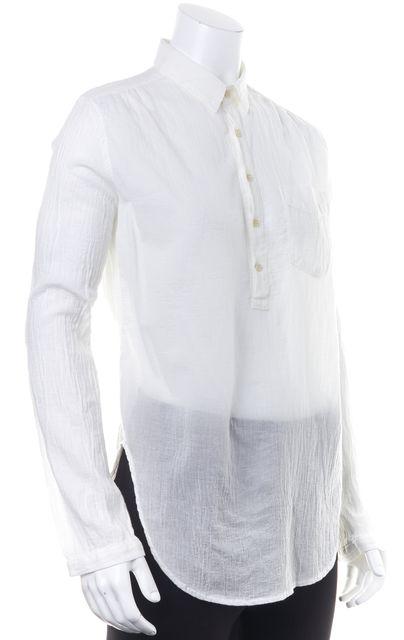 MOTHER White Cotton Sheer Button Down Popover Shirt