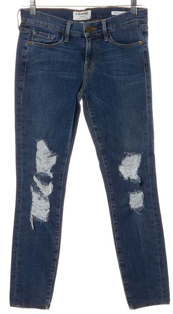 FRAME Blue Distressed Stretch Cotton Mid-Rise Skinny Jeans