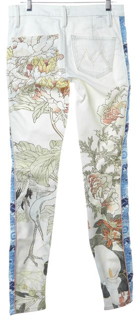 MOTHER Ivory Blue Yellow Floral Colorblock Looker Skinny Jeans