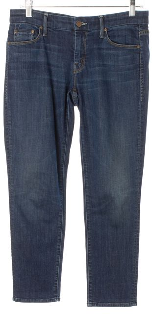 MOTHER Blue Flowers From The Storm Looker Crop Cropped Skinny Jeans