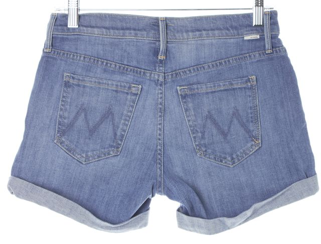MOTHER Blue Welcome Home Garden Club Dropout Cuff Denim Shorts