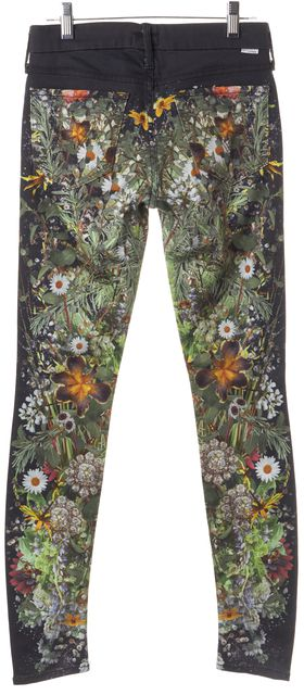 MOTHER Blue The Looker Wild Flower Low Rise Skinny Jeans