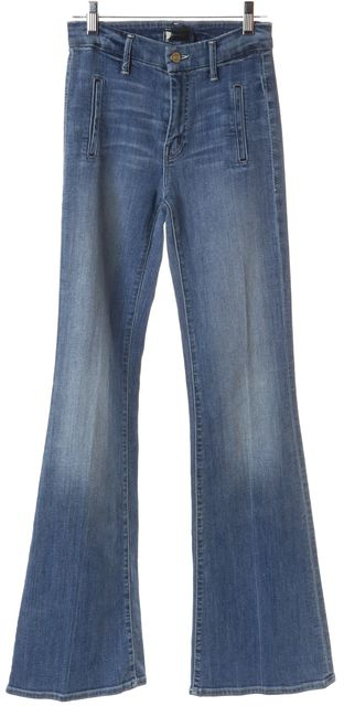 MOTHER Blue Whiskered Mid-Rise Wide Leg Flare Jeans