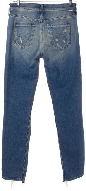 MOTHER Blue Light Wash Distressed The Flirt Cold Feet Skinny Jeans