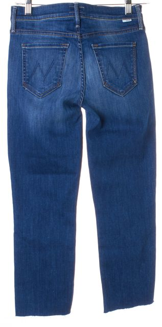 MOTHER Blue The Rascal Ankle Snippet Mid-Rise Cropped Jeans