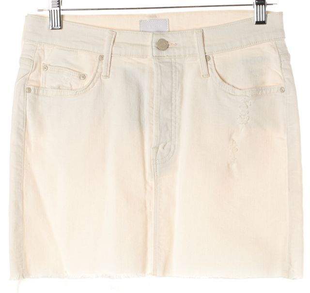 MOTHER Ivory Tea And Biscuits The Vagabond Mini Fray Denim Skirt
