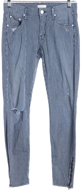 MOTHER Blue White The Looker Ankle Zip On The Road Destroyed Skinny Jeans