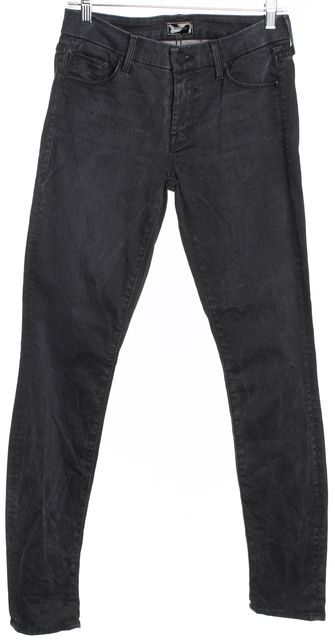MOTHER Dark Gray Marble Mid-Rise Skinny Jeans