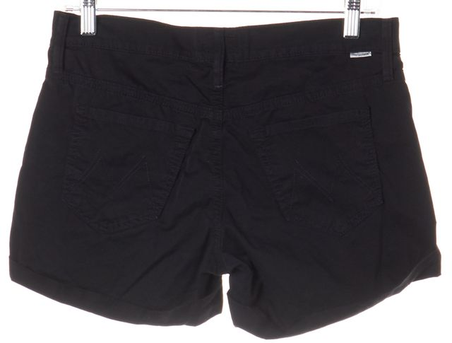 MOTHER Black Cuffed Stretch Denim Shorts