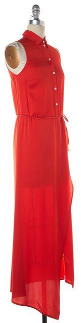 MARISSA WEBB True Red Stretch Silk Wrap Effect Button Up Maxi Dress