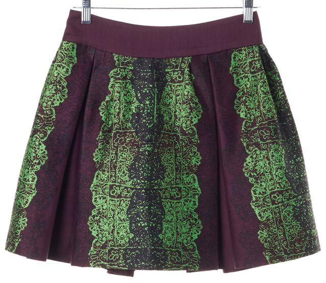 MARISSA WEBB Purple Abstract Wool Pleated Skirt