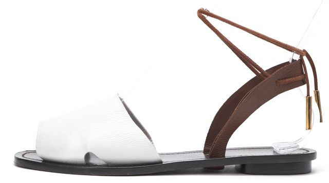 MAIYET White Brown Leather Ankle Wrap Flat Sandals