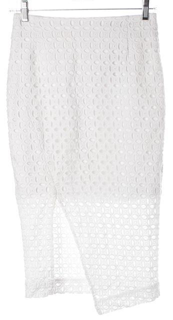 NICHOLAS White Eyelet Embroidered Cotton Front Slit Pencil Skirt