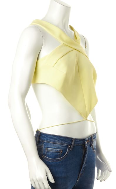 NICHOLAS Yellow Criss Cross Cropped Wrap Blouse Top