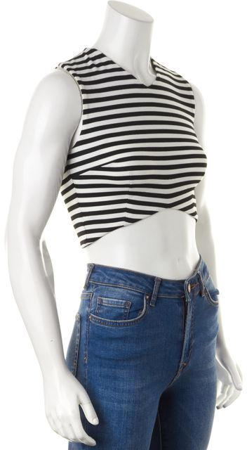 NICHOLAS Black White Striped Sleeveless Ponti V Crop Top