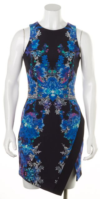 NICHOLAS Black Blue Floral Silk Sleeveless Sheath Dress