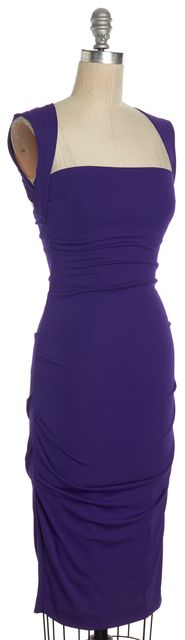 NICOLE MILLER Purple Cutout Sleeveles Gathered Bodycon Dress