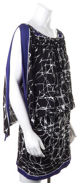 NICOLE MILLER Black White Purple Slit-Seleeves Drop Waist Blouson Dress