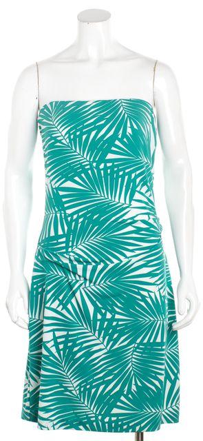 NICOLE MILLER Teal Green Leaf Print Strapless Shift Dress