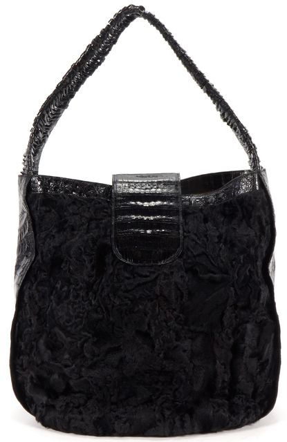 NANCY GONZALEZ Black Crocodile Fur Leather Hobo Shoulder Bag