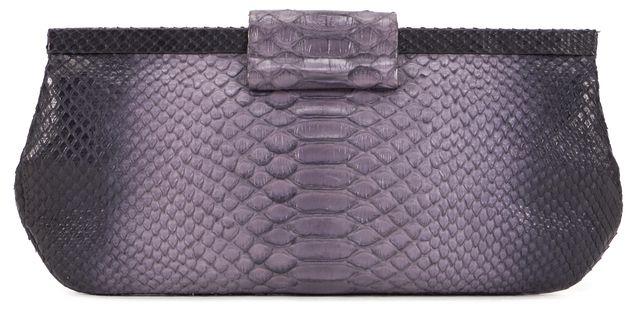 NANCY GONZALEZ Purple Python Leather Frame Clutch Bag