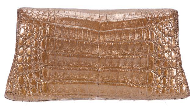 NANCY GONZALEZ Brown Crocodile Leather Small Fold-Over Clutch