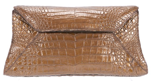 NANCY GONZALEZ Brown Crocodile Leather Small Fold-Over Clutch