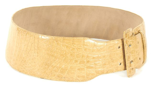 NANCY GONZALEZ Yellow Crocodile Embossed Leather Waist Belt
