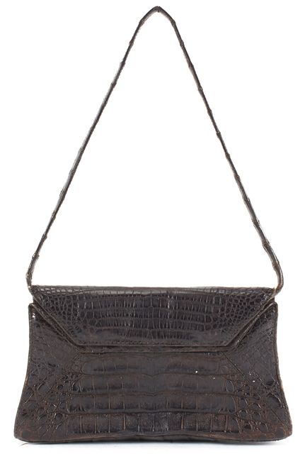 NANCY GONZALEZ Brown Crocodile Mini Flap Shoulder Bag