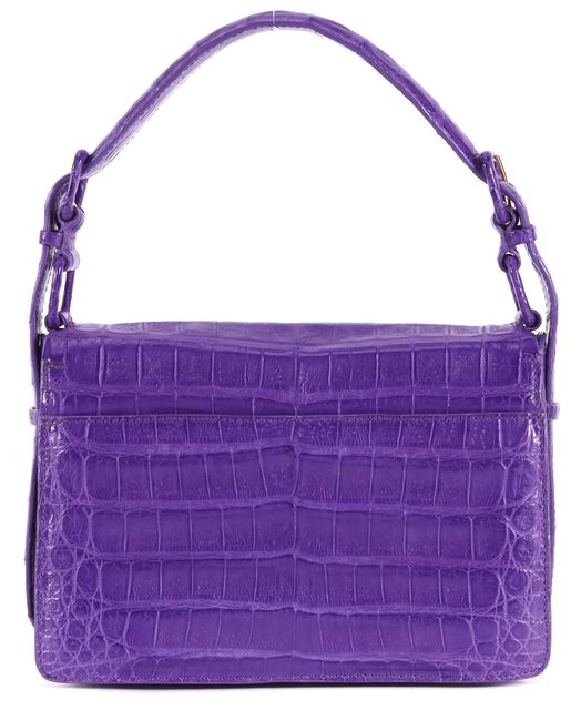 NANCY GONZALEZ Purple Crocodile Leather Small Shoulder Bag