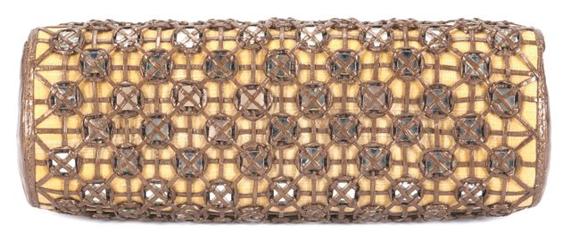 NANCY GONZALEZ Brown Crocodile Wicker Combo Mirrored Embellished Clutch