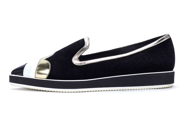NICHOLAS KIRKWOOD Black Gold White Velvet Patent Leather Loafer Flats