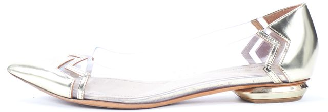NICHOLAS KIRKWOOD Clear Gold Leather Pointed Toe Mirage Flats