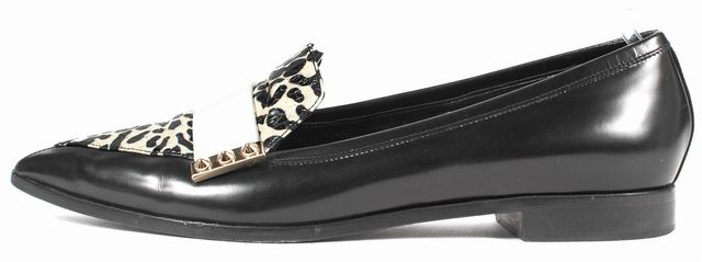 NICHOLAS KIRKWOOD Black White Leather Python Elaphe Pointed Loafers