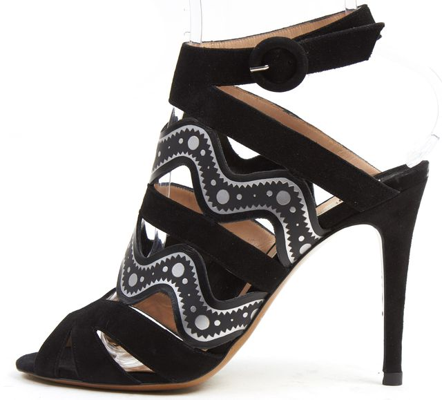 NICHOLAS KIRKWOOD Black Silver Abstract Suede Mule Heels