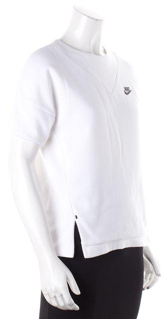 NIKE Pure White Back Zip-Up Scalloped Back Short Sleeve Sport Sweatshirt