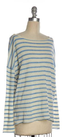 NILI LOTAN White Light Blue Striped Boat Neck Knit Sweater