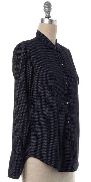 NILI LOTAN Blue Polka Dot Button Down Shirt Top