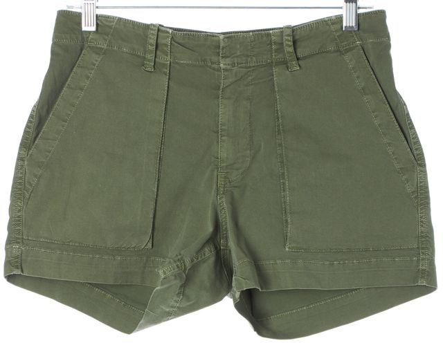 NILI LOTAN Army Green Stretch Cotton High Waisted Casual Shorts