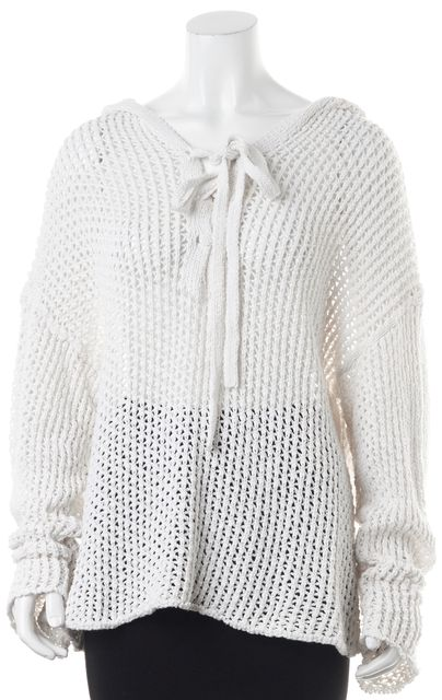 NILI LOTAN White Cable Knit Front Tie Long Sleeve Hooded Sweater