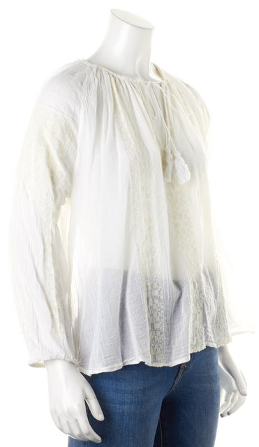 NILI LOTAN White Embroidered Tassel Neck Tie Peasant Blouse Top